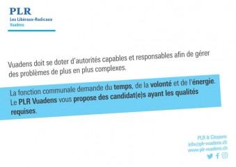 Elections communales 2021, une des 7 cartes postales PLR Vuadens, verso / FR
