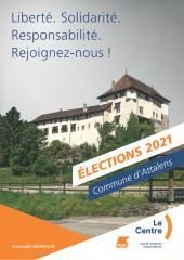 Elections communales 2021, flyers Le Centre Attalens, recto / FR